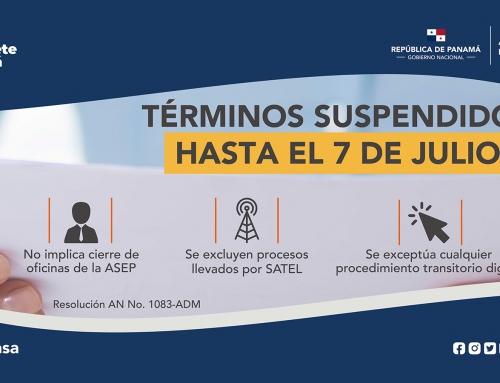 ASEP EXTIENDE SUSPENSIÓN DE TÉRMINOS ADMINISTRATIVOS